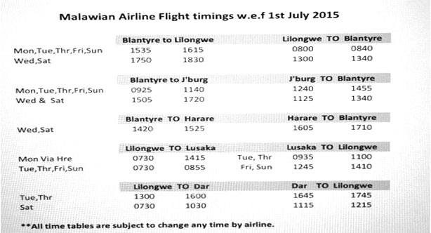 d332a25e Malawi Airlines Cancels Lilongwe -Blantyre morning flights | The ...