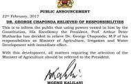George Chaponda fired as Minister