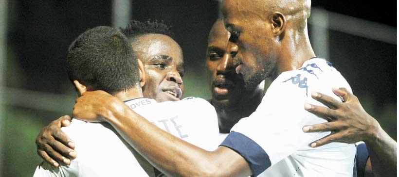 Gabadinho Mhango celebrates winning Premier Soccer League title