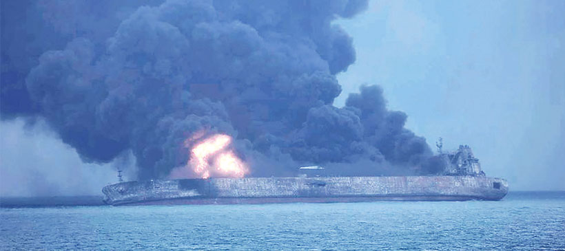 Oil spill off China on fire